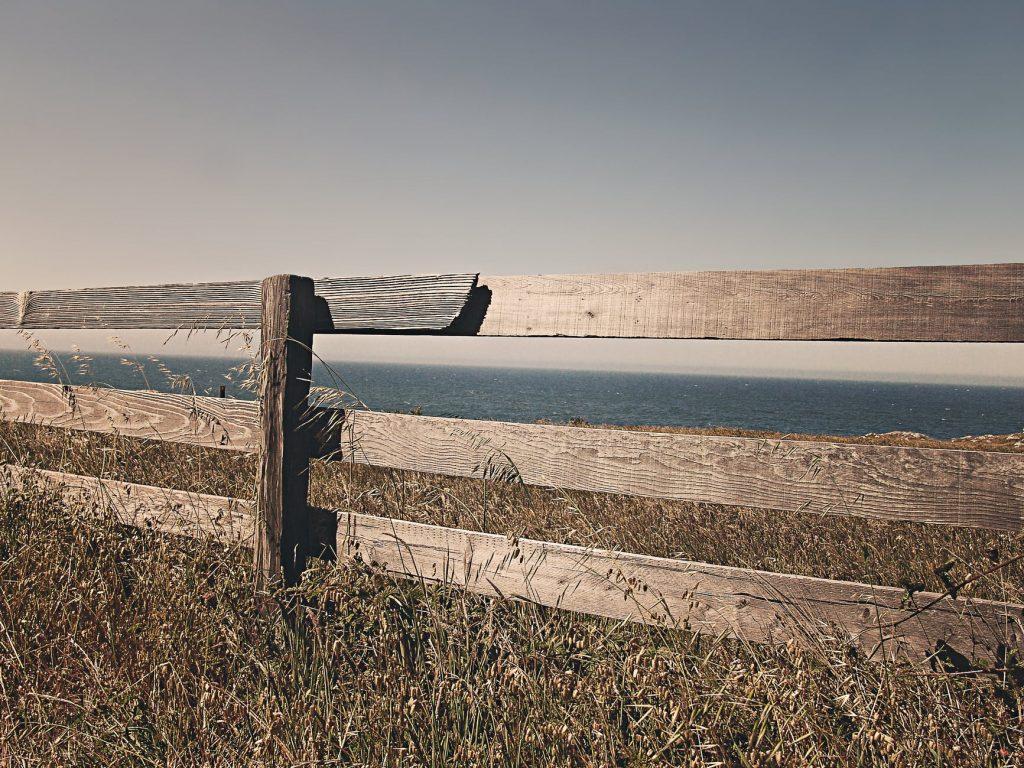 sea ocean meadow fence