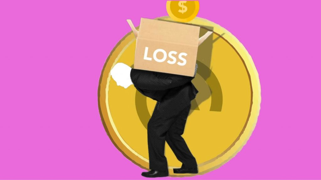 illustration of man carrying box of financial loss on back
